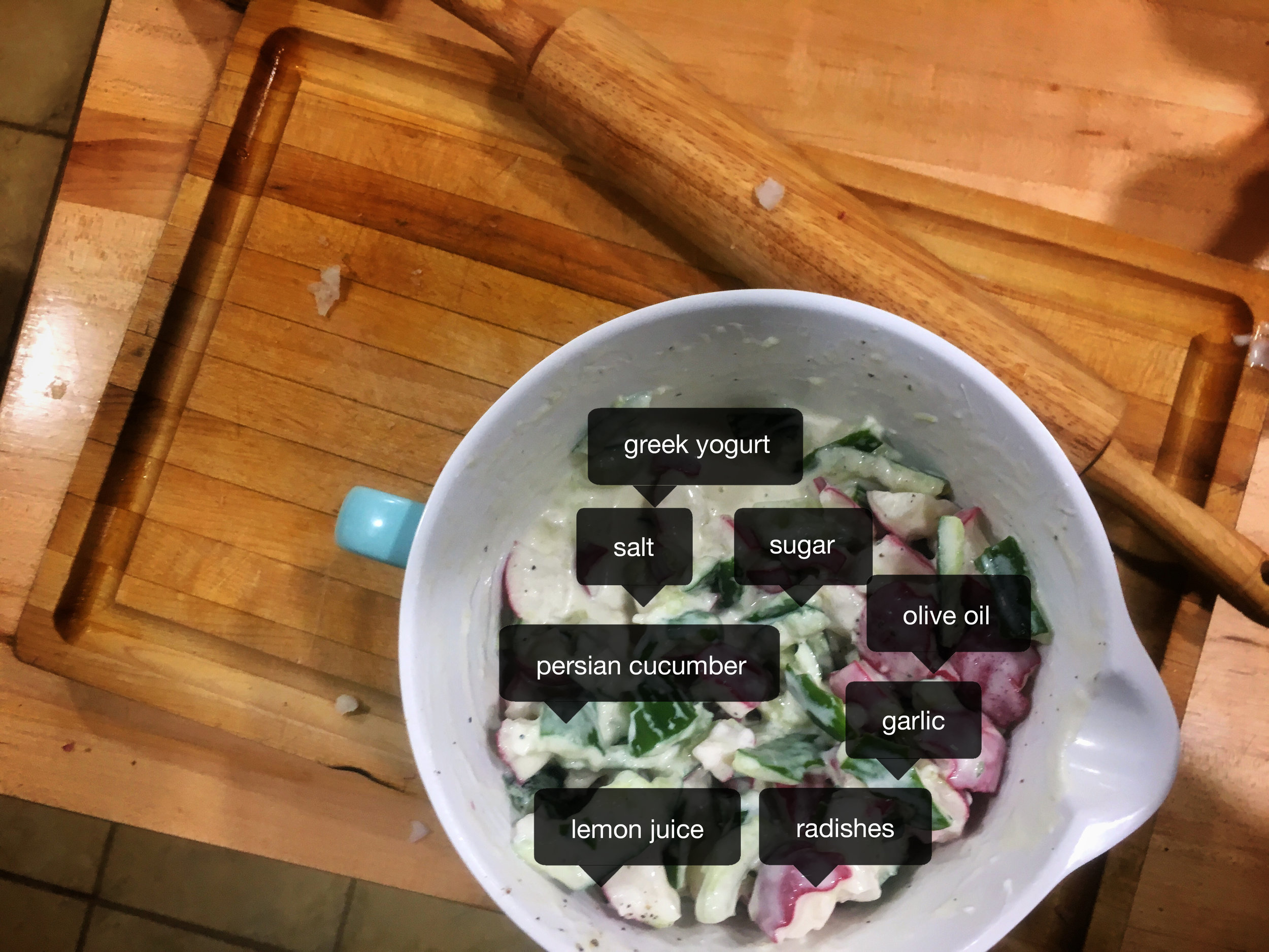Actual recipe for Smashed Cucumbers and Radishes in Yogurt Sauce  here .