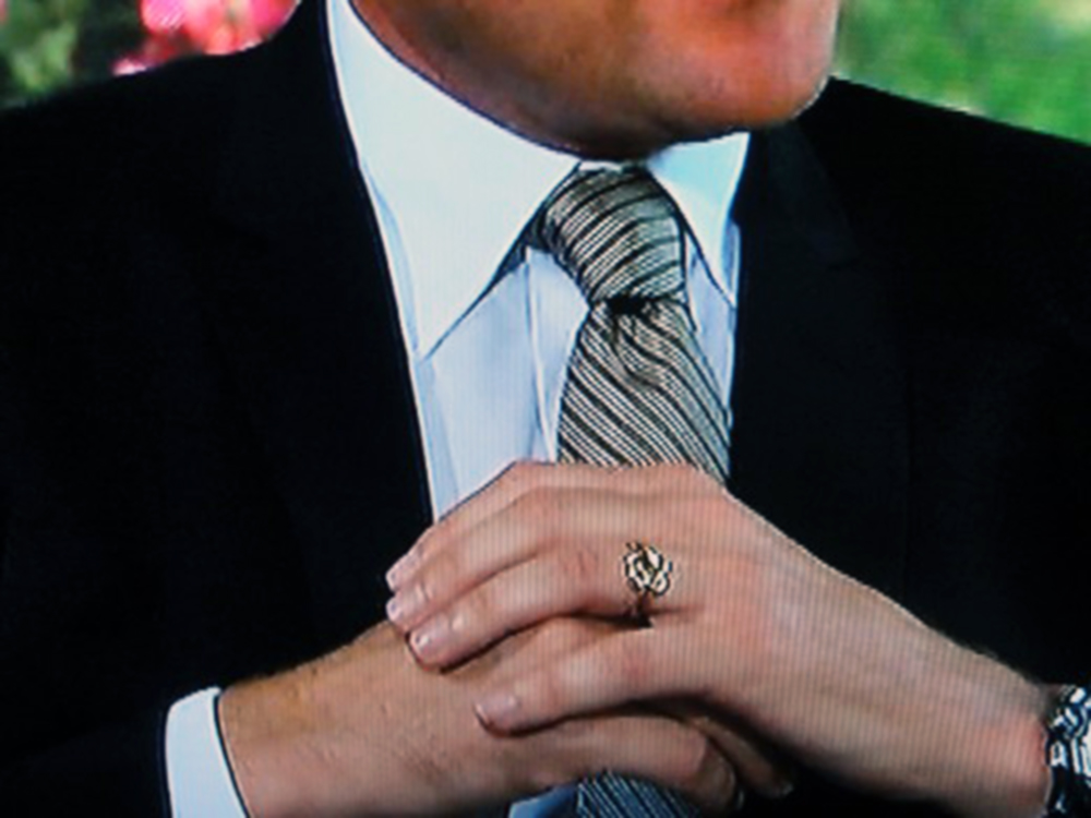 A rare sighting of Chris Harrison's now-retired wedding ring.