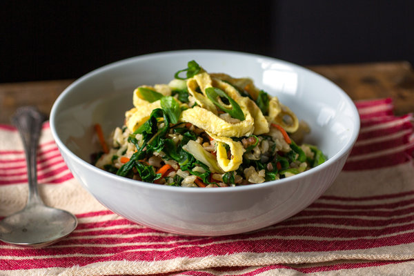 Stir-Fried Brown Rice with Red Chard, Carrots