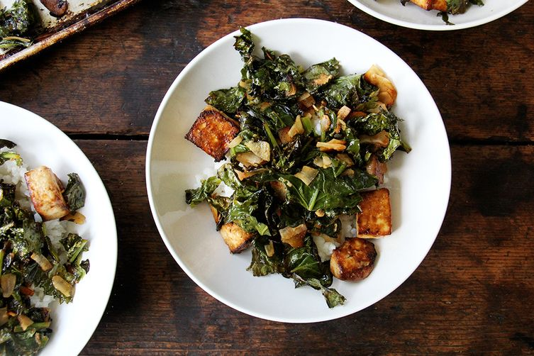 Baked Tofu, Coconut Kale
