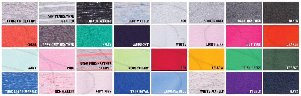 Please Note: Marble and Striped colors are only available on racerback tank tops
