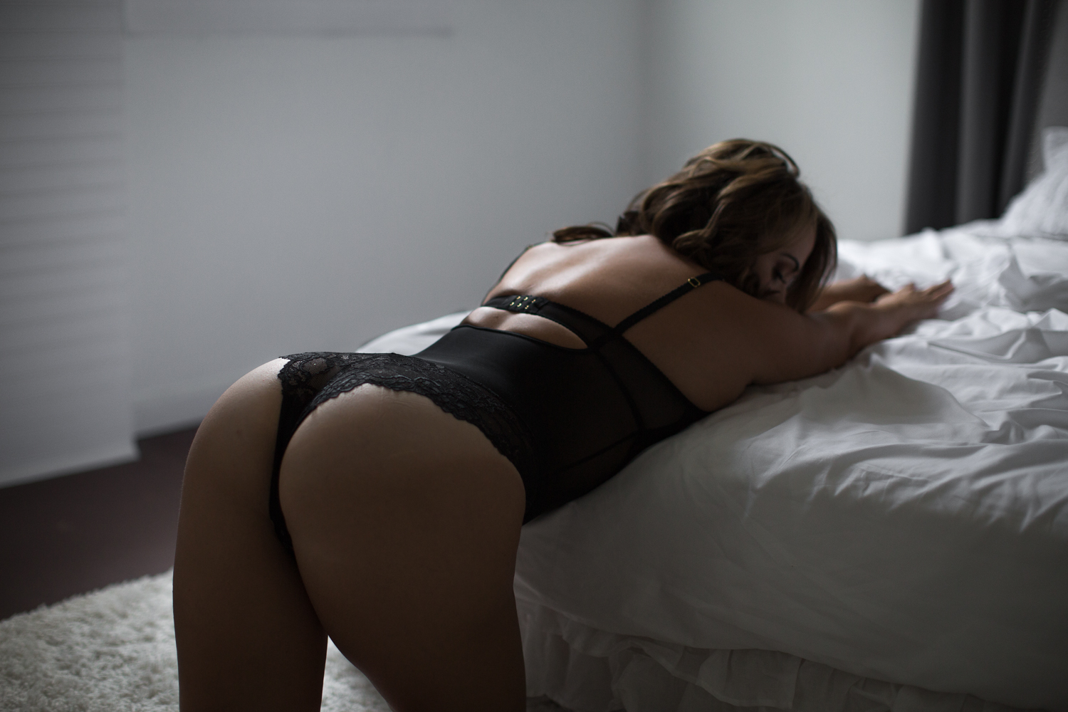 Black bodysuit lingerie with lacy cheekie back