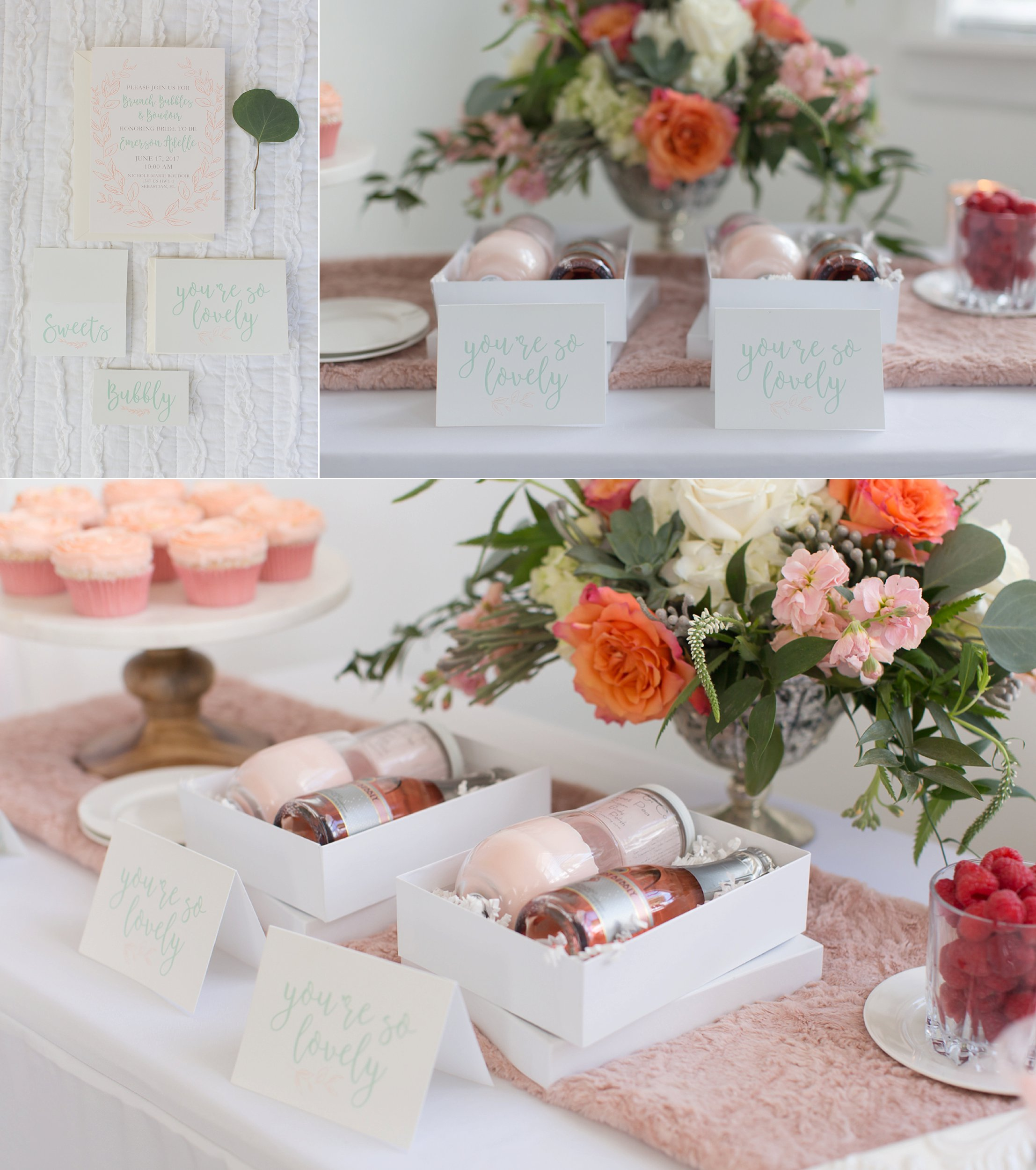 BRIDESMAID GIFT BOX IDEA WITH CHAMPAGNE, PINK AND MINT STATIONARY