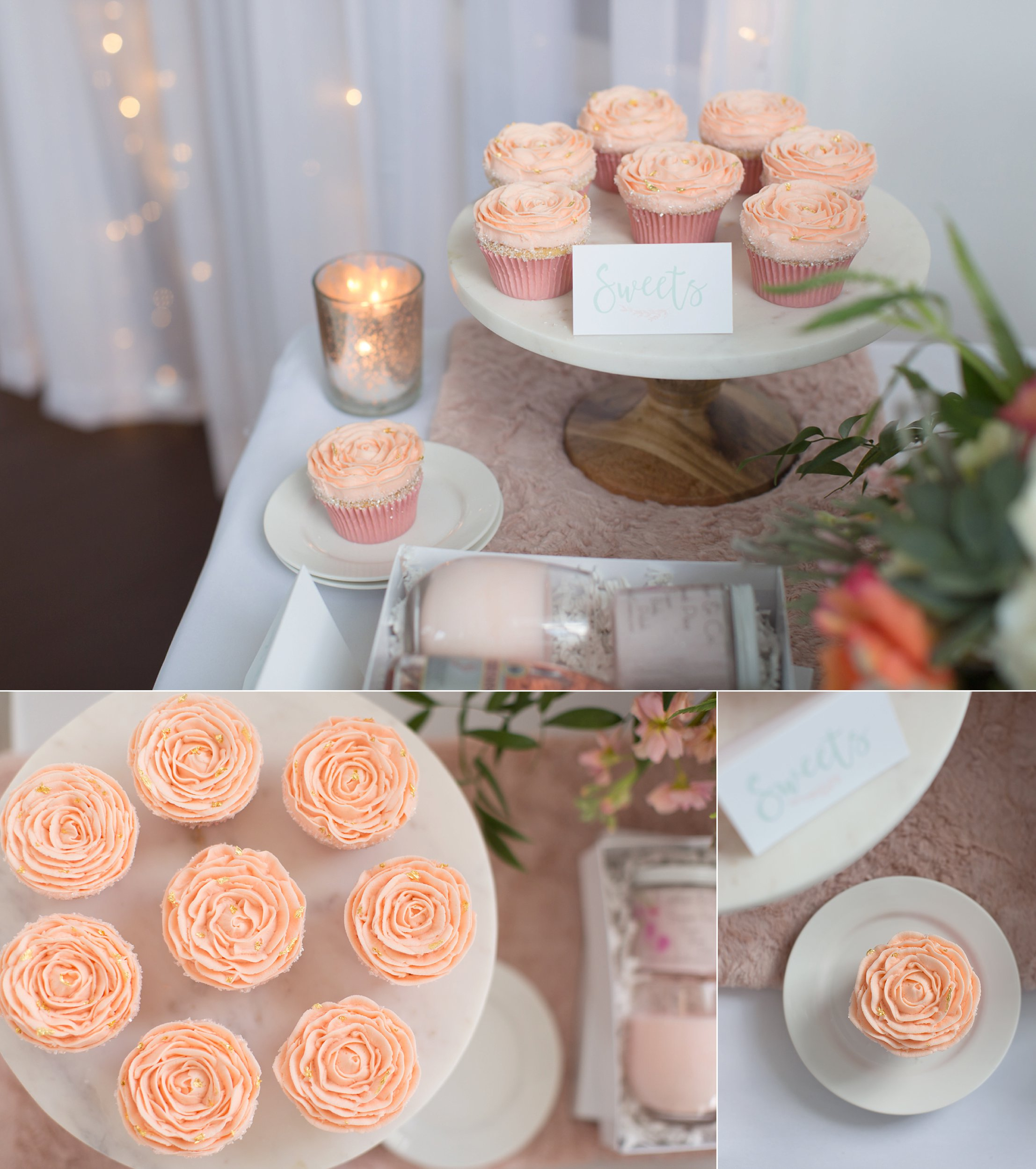 PEACH ROSE CUPCAKES WITH GOLD FLAKE
