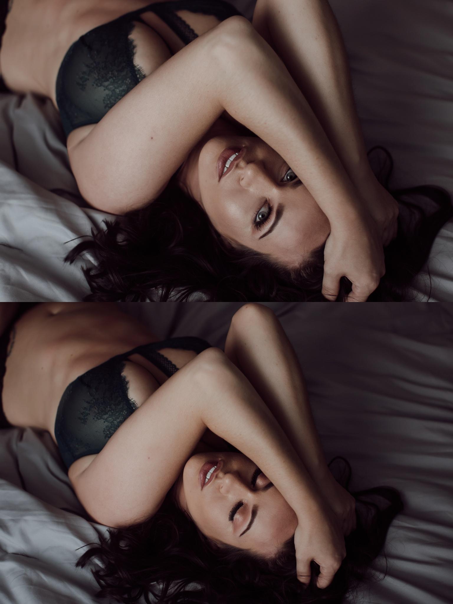 boudoir client bed posing with bra and panties. client testimonials. Sebastian, florida.