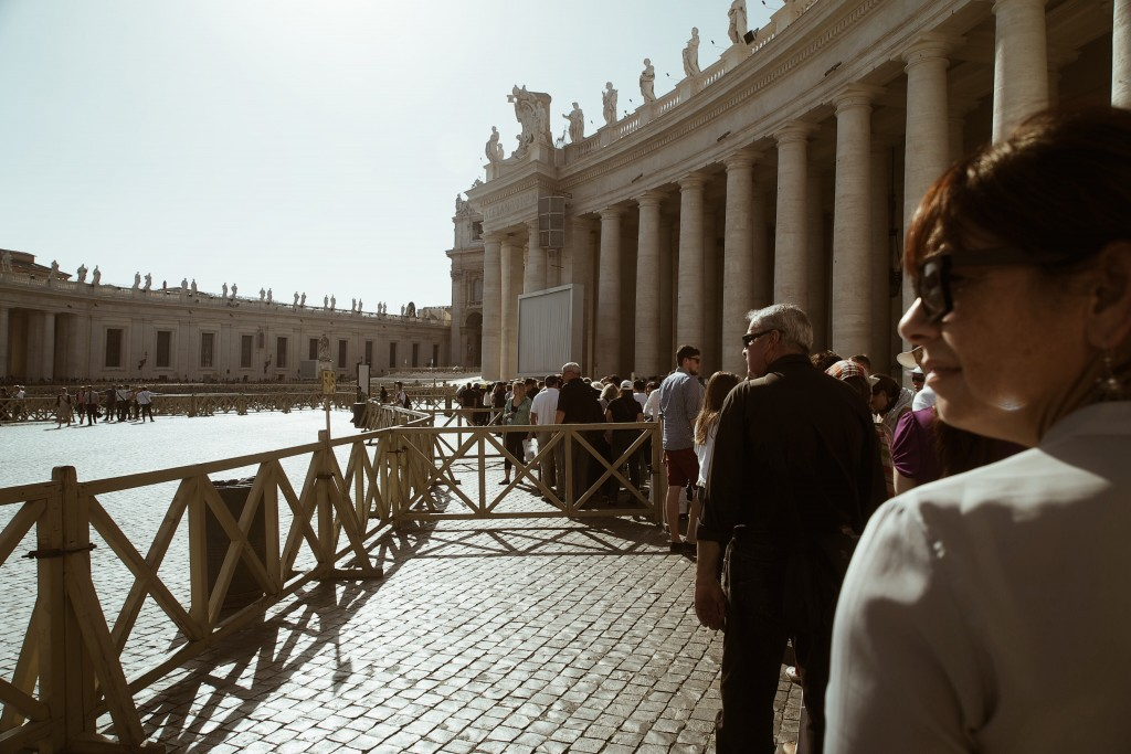 The line for St. Peter's Basilic