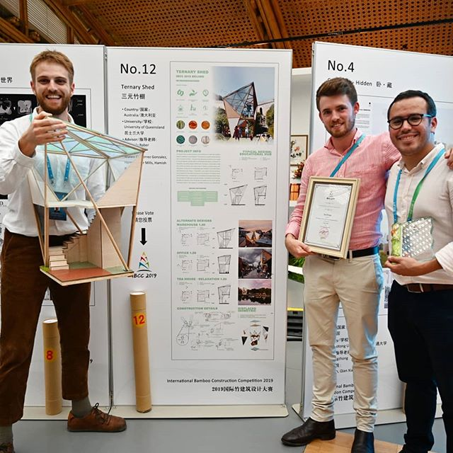international bamboo construction competition at the beijing horticulture expo in Yanqing last friday. our proposal, ternary shed took out third place