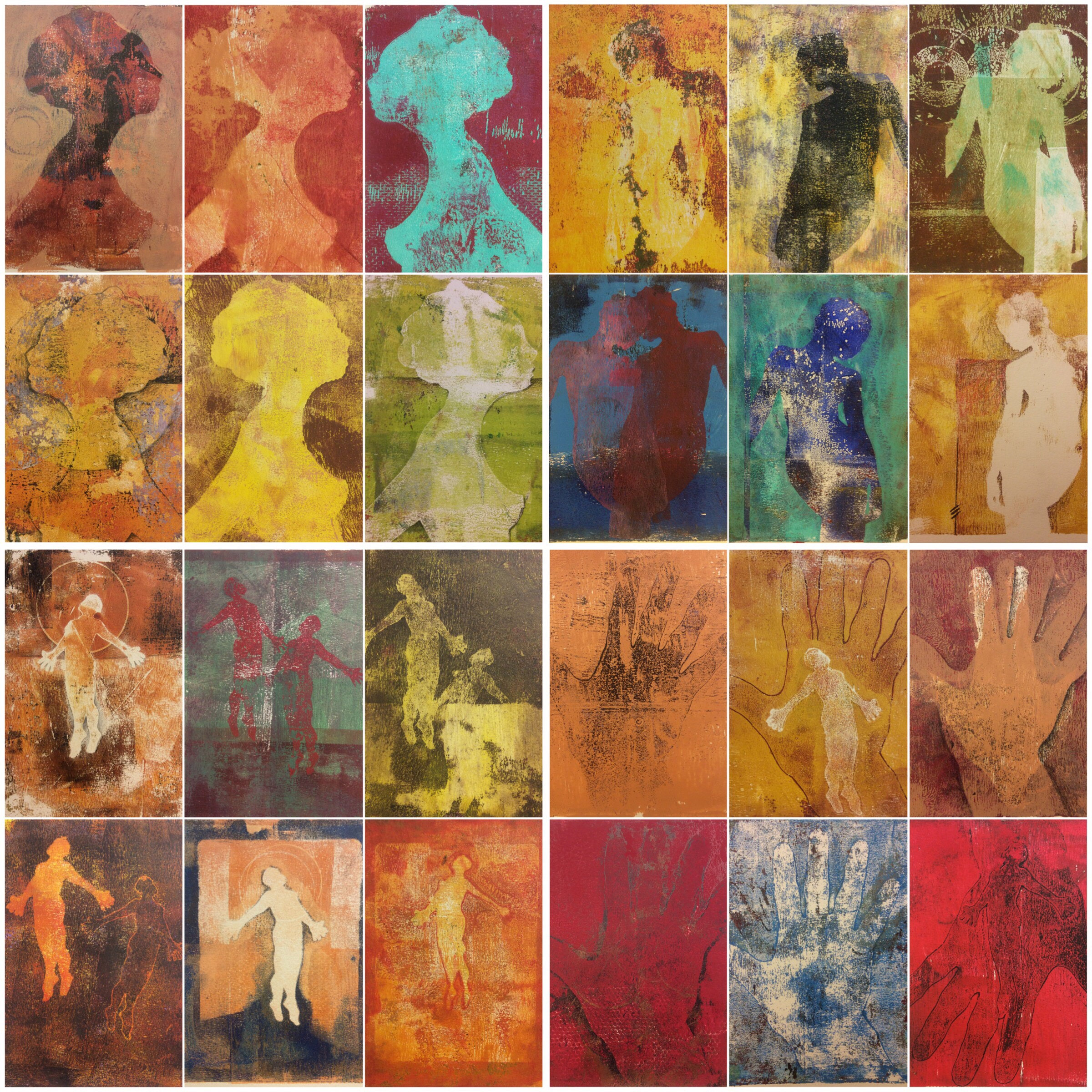 24 of 102 monotypes created in my challange
