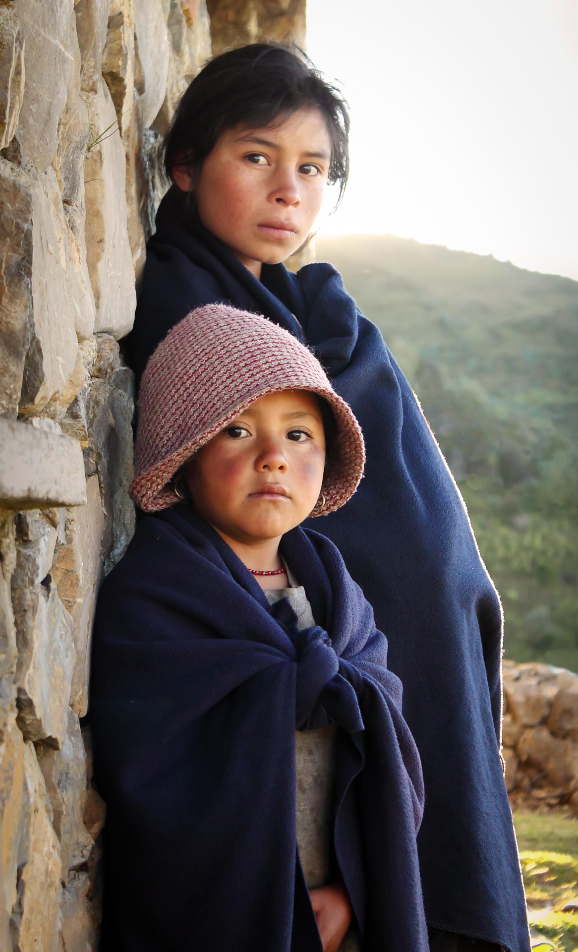 Children atop the Cuchumatanes mountain range. Guatemala.