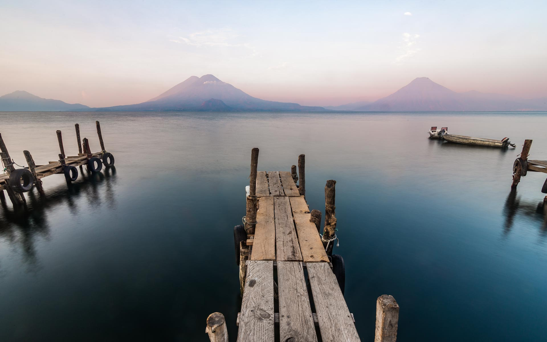 Lake Atitlán in the morning from the town of Panajachel. Guatemala