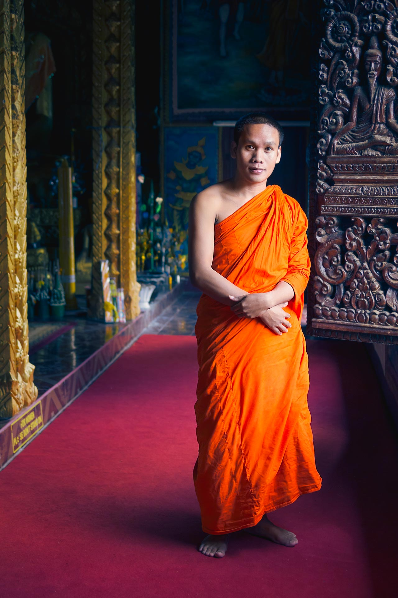 Buddhist monk at a temple in Pakse. Laos