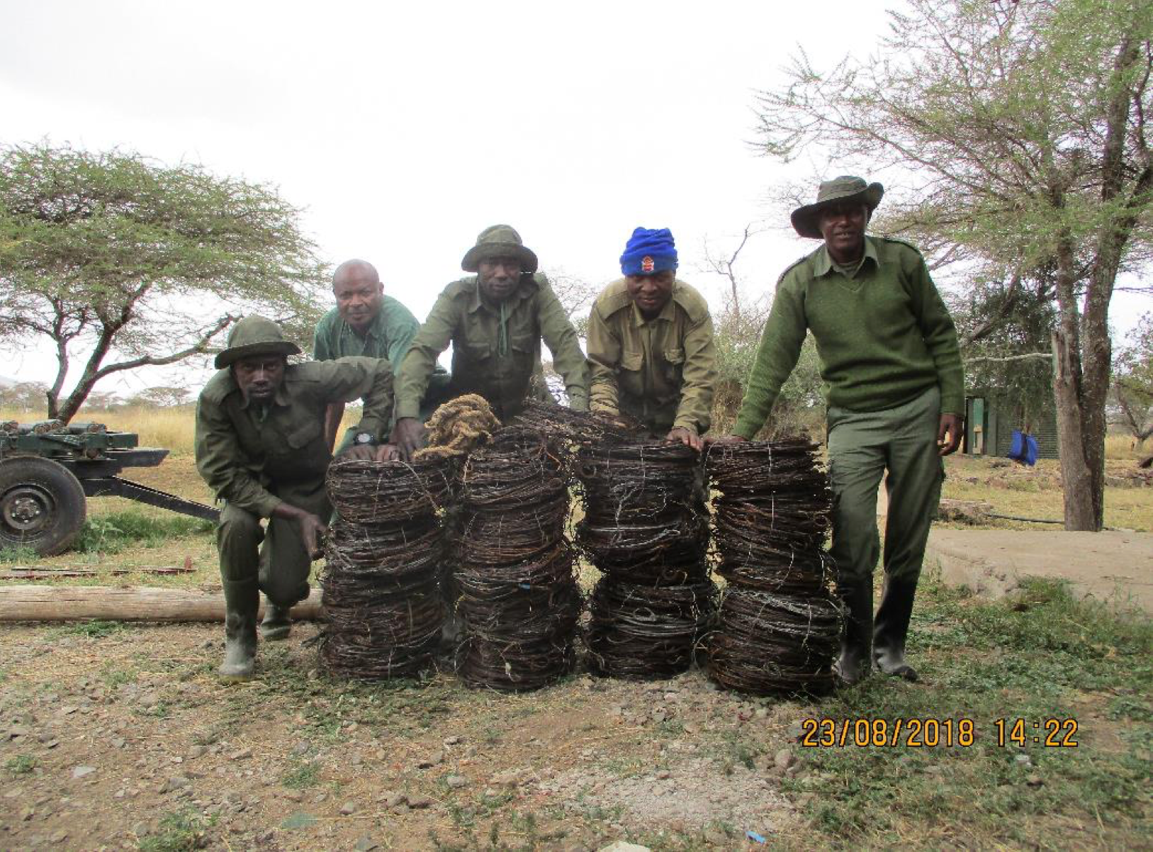 The Serengeti de-snaring team with snares from 10 days patrolling