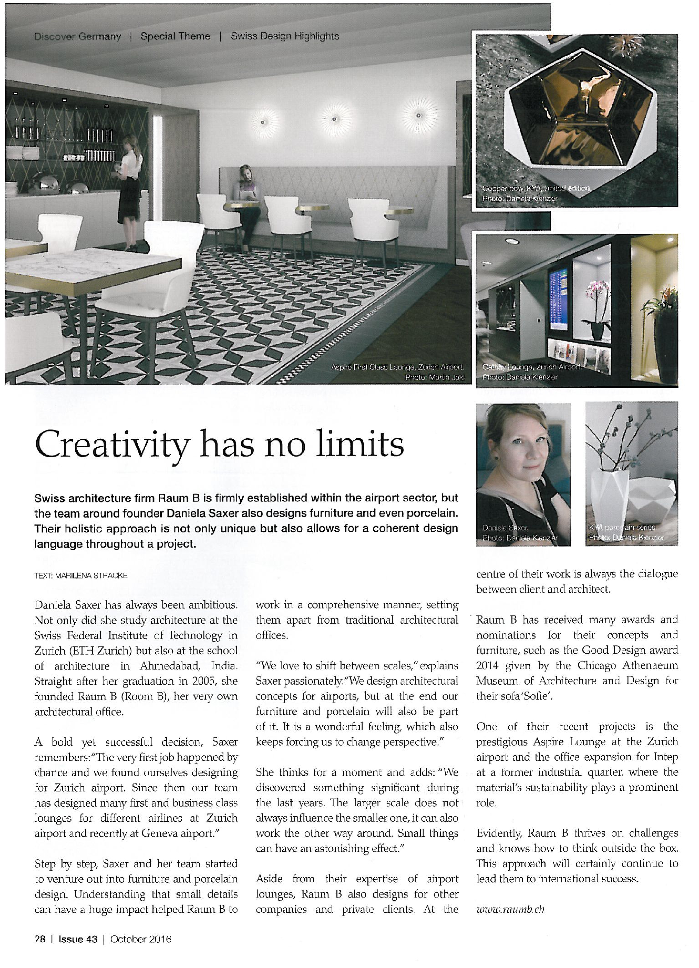 Creativity has no limits   Issue 43, October 2016, S. 28