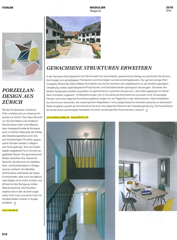 Porzellan-Design aus Zürich   Modulor Magazin, Forum, No. 8 2016, S. 12