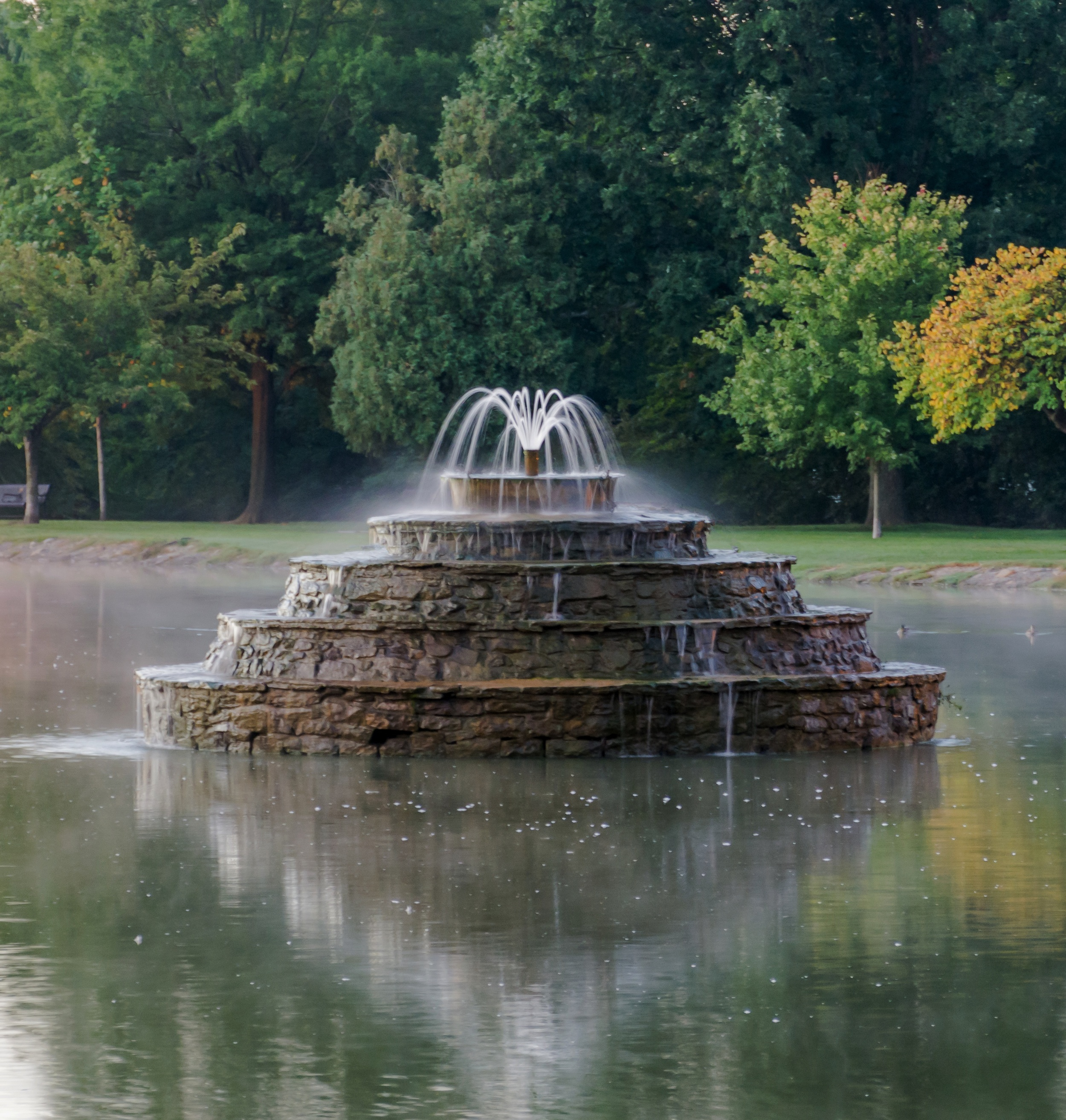 Culler Lake fountain, just before sunrise. Great place to feed the ducks. Frederick, MD. (c) Rebecca LaChance, 2014