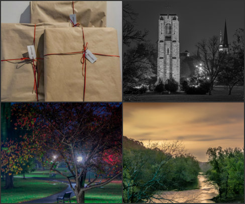 Baker Park Carillon, 5:30a.m. in Rainy Baker Park, and Sunrise over the Monacacy River are all matted, framed, wrapped and ready to go to their Forever Home. All photos (c) Rebecca LaChance, 2014-15.