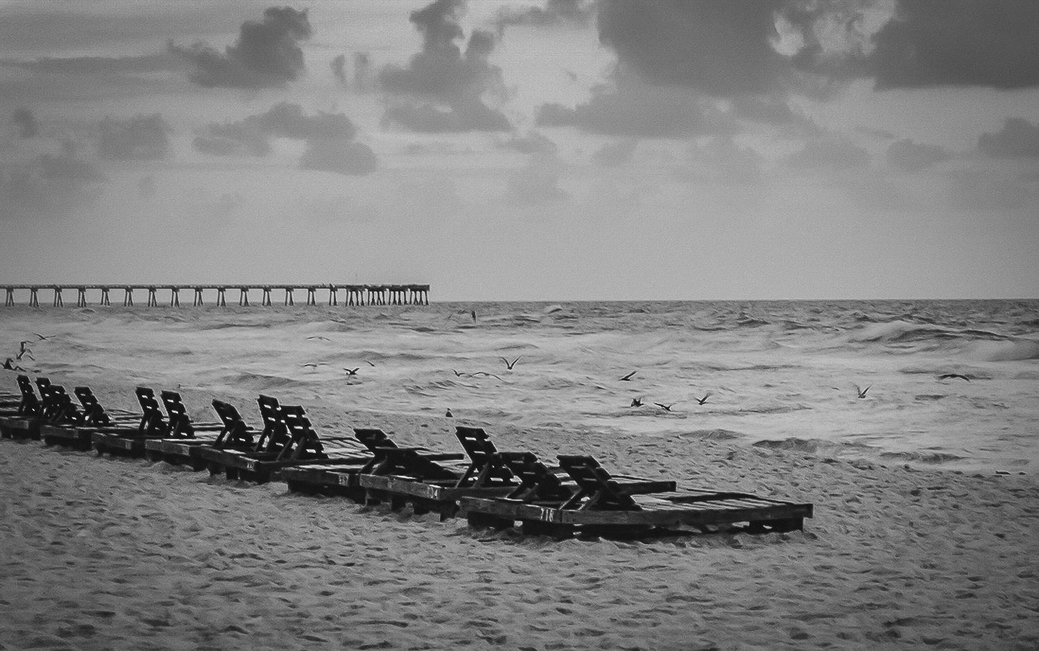 Lonely Beach Benches