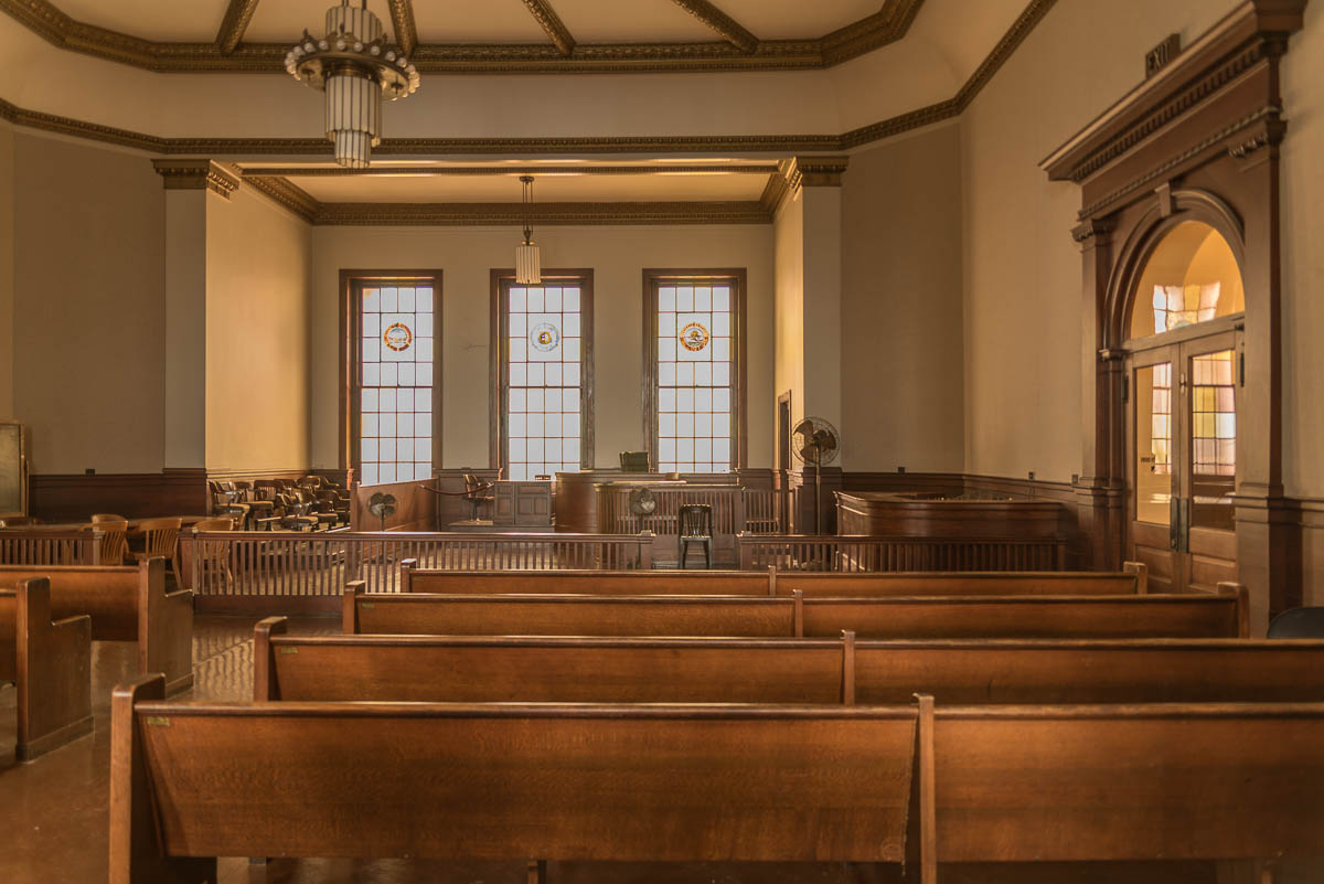 """To Kill a Mockingbird or Perry Mason? """"Jackson County courtroom"""" (c) Rebecca LaChance, 2016, Independence, MO. This court room is in the courthouse where Harry Truman presided as judge."""