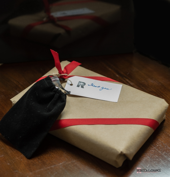 An example of a large image wrapped, beribboned, with Thank-You and coffee beans in black jewelry bag. (c) Rebecca LaChance, 2016, Thurmont, MD.