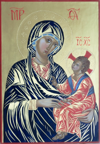 """Interpretation of the """"Enthroned Madonna and Child"""" by the hand of Rebecca LaChance, 2013. Egg tempera on board. Original dated between 1250 and 1275 C.E., author unknown. Also known as The Kahn Madonna, the original is held in permanent exhibition by the National Gallery of Art, Washington, D.C."""