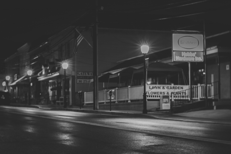 """These are the lovely new lights. All today's photos of Main Street were taken with the Lens Baby 56mm Velvet. Oh, I do so love that lens. """"Hobbs Hardware"""" (c) Rebecca LaChance 2015, Thurmont MD."""