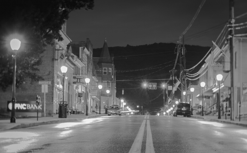 """Yes, I was standing in the middle of the street. """"Main Street Thurmont"""" (C) Rebecca LaChance, 2015, Thurmont, MD."""
