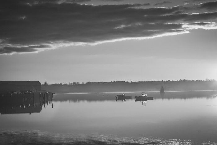 """I finally got to see the sunrise over the water while in Maine - on the morning I left! """"Fishing boats at sunrise."""" (c) Rebecca LaChance, 2015. Cushing Maine."""
