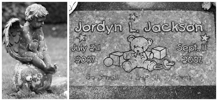 Jordyn's guardians, an angel and teddy bear. Jordyn's life was so short it is measured in days rather than months or years. Her family mourns each anniversary, birthday, and milestone they are not able to share with her. The angel they placed to care for her is nearly four feet tall and brings me to tears every time I see it. The teddy bear has been sitting watch for most of this year and has clearly seen a lot of weather. He'll see a lot more.