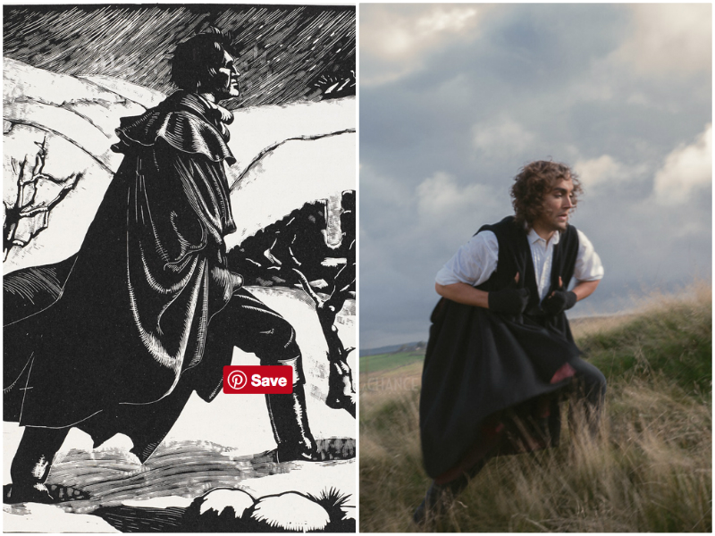 "The woodcut (l) of a brooding Heathcliff (by Clare Leighton, 1931) was the inspiration for ""Heathcliff charges the moors"" (r) by Rebecca LaChance (c) 2016. Dani Heaven, my partner, had saved this image to our Pinterest storyboard page. Model: Zak Derler, MUA: Laurel Rippin; Styling: Caroline Brown. Compelling Portraiture with Carolyn Mendelsohn.  Zak is wearing the cape and fingerless gloves we had requested.  In true ""get the job done"" ethic, the fingerless gloves were Caroline Brown's (stylist) personal gloves!"