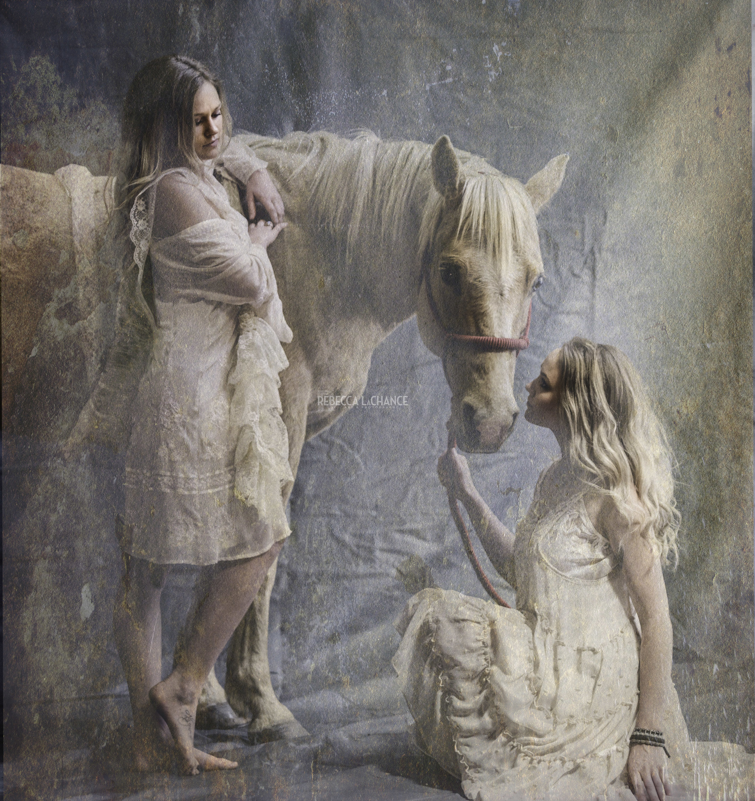 """""""Sparky and his girls"""" (c) Rebecca LaChance, 2017. Cle Elum, WA. The lovely sisters,   Lutisha   and Madysen Owens with their horse, Sparky. Such a patient horse! One of   several   images created during the Corinne Alavekios Mixed Media Fine Art Workshop."""