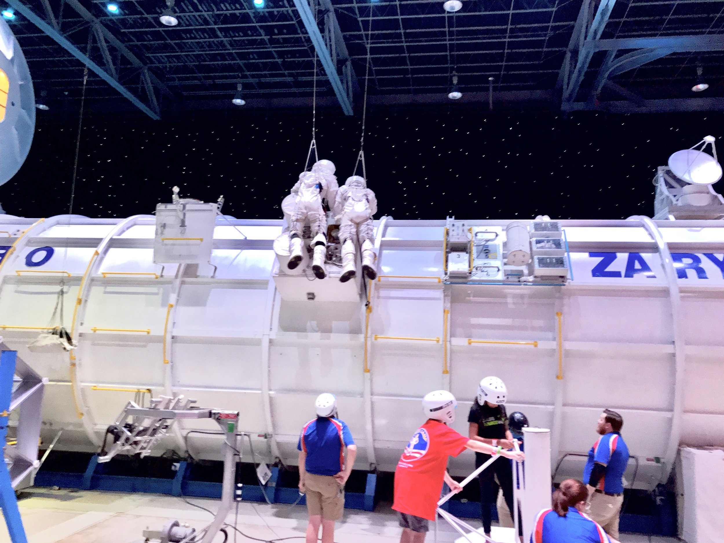 Kids at space camp get to do incredible things. Obviously, the two at the top of the photo are simulating a space walk. They also get to experience near-zero gravity in a large diving tank. Rebecca LaChance, 2017.