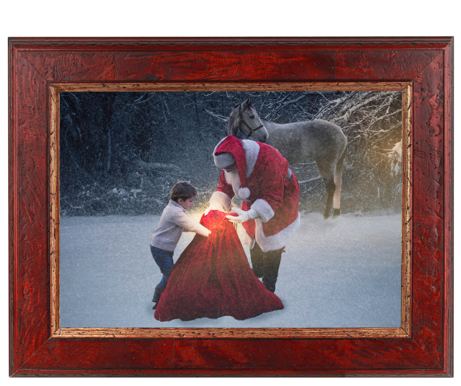 """""""Creating magic"""". (c) Rebecca LaChance, 2017, Thurmont, MD. Johnnie had been awakened from his nap and was NOT happy. As soon as Johnnie saw Santa, he broke into a smile and ran to Santa. Jane (the horse) kept watch as the magic happened. I can only imagine Johnnie's thrill while telling all his friends Santa came to his house. That would be rather exciting, wouldn't it?"""