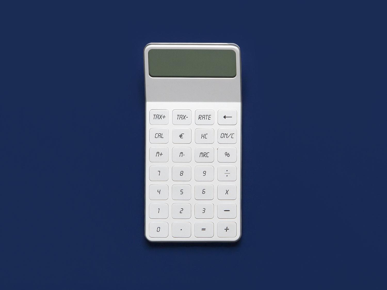 Ella. Calculator with angled display. Designed for Lexon.