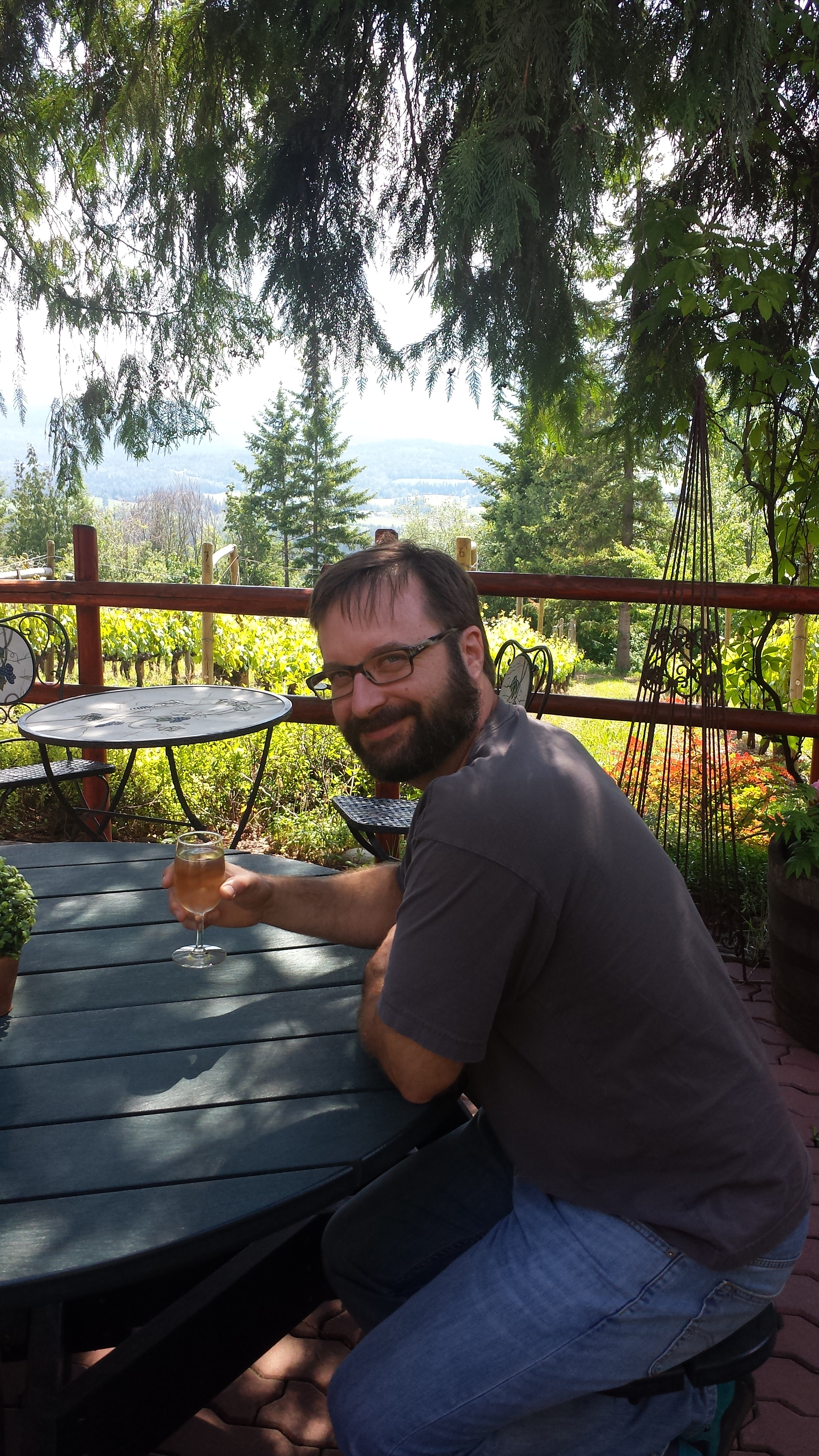 A lovely place to enjoy an afternoon glass of wine-  Larch Hills Winery