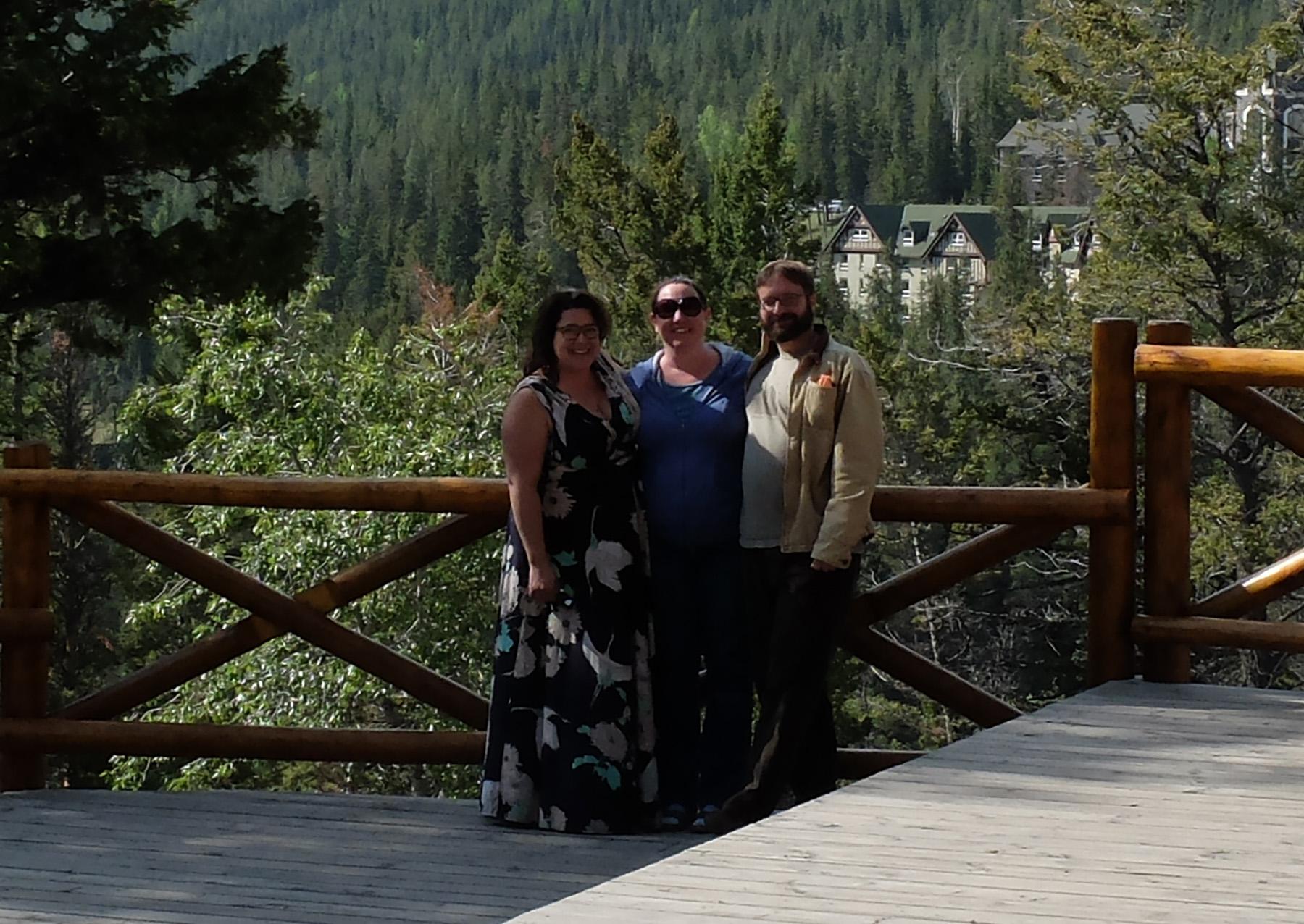 Niko, KJ, and I in front of the very impressive  Banff Springs Hotel