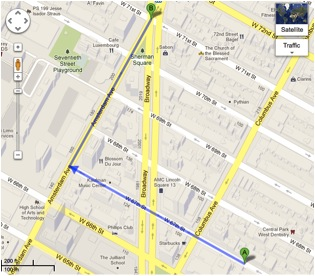 Google Map directions of the Arensberg's West 67th street apartment and the Ansonia Hotel.