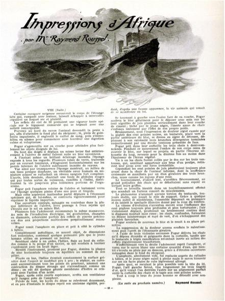 Serialized publication of the novel Impressions d'Afrique in Le Gaulois du Dimanche, 1909.