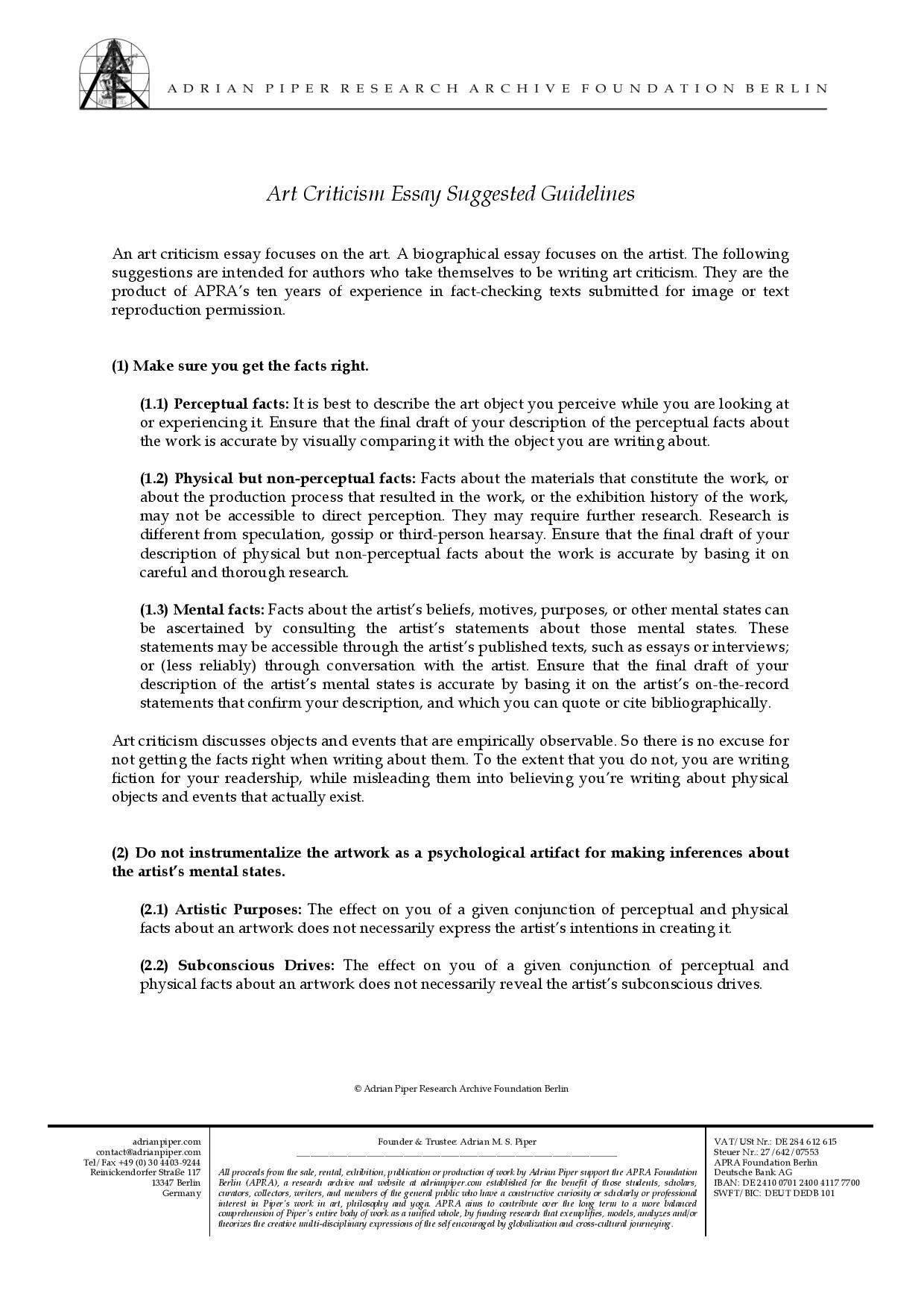 Essay On Healthy Eating Habits  Example Of Thesis Statement For Essay also Thesis Statement Examples For Narrative Essays Art Criticism Essay Suggested Guidelines  Adrian Piper  Genetically Modified Food Essay Thesis