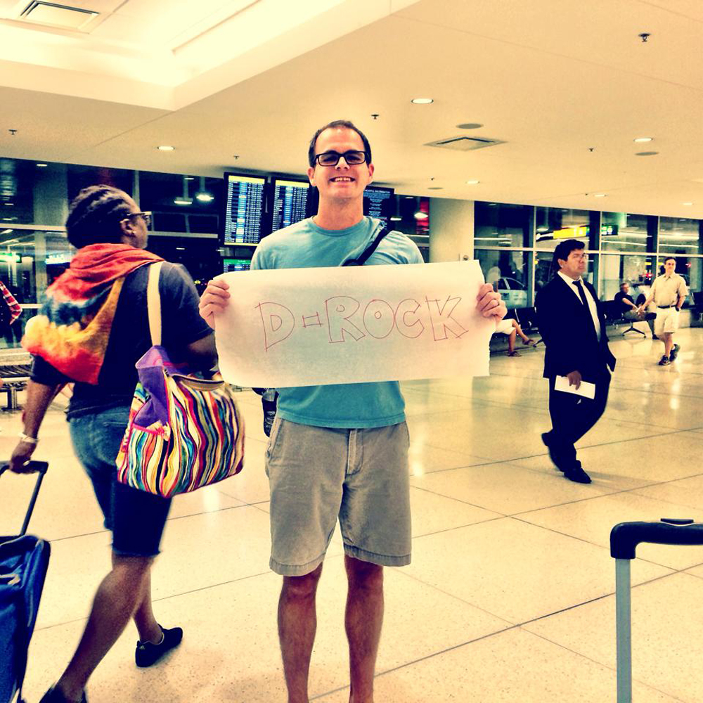 Picking Danielle up from the airport with my trace paper sign.