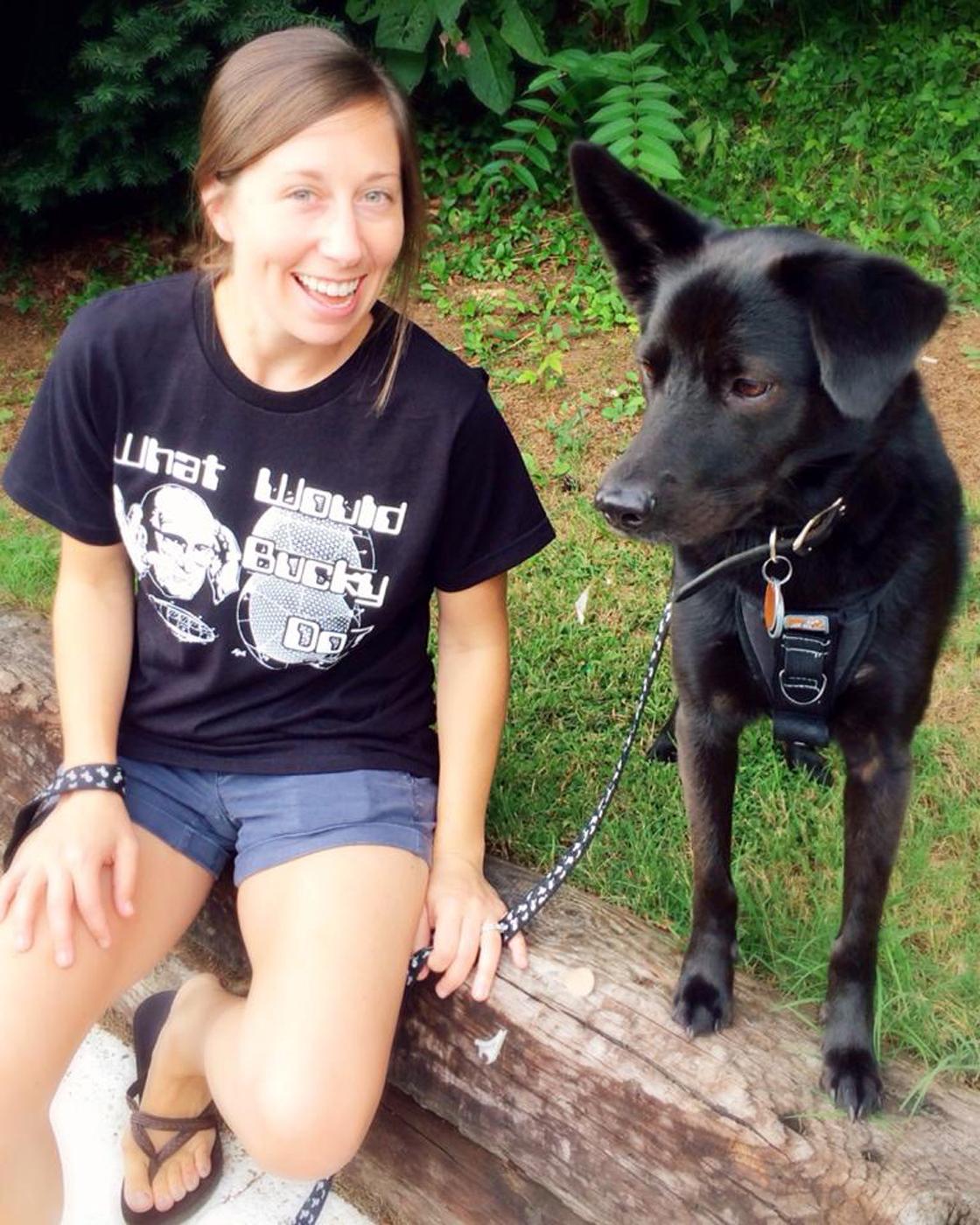 Danielle sporting her Buckminster Fuller t-shirt with our dog Buckminster Fuller Ramos.  A.K.A. Minster.