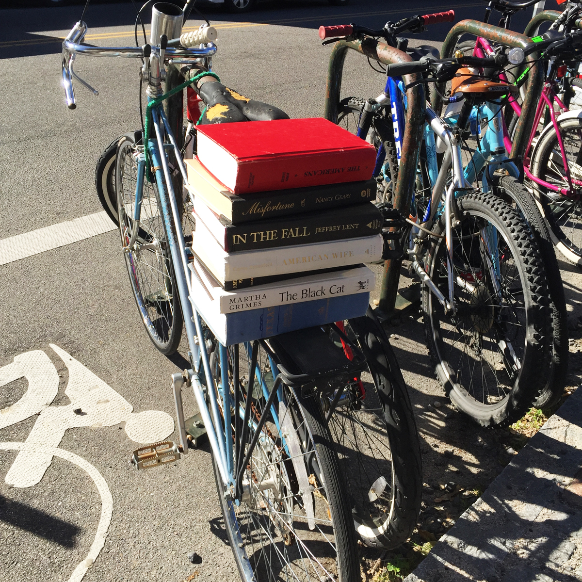 Isn't this awesome?  Blue Bicycle Books puts this bike and the books out everyday.