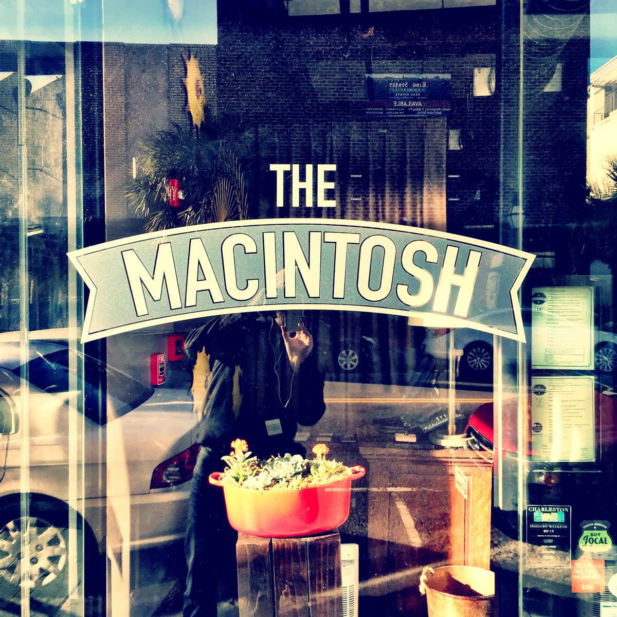 This sign is simple and classic.  We have had a couple outstanding meals at the Macintosh.  Can you see me?
