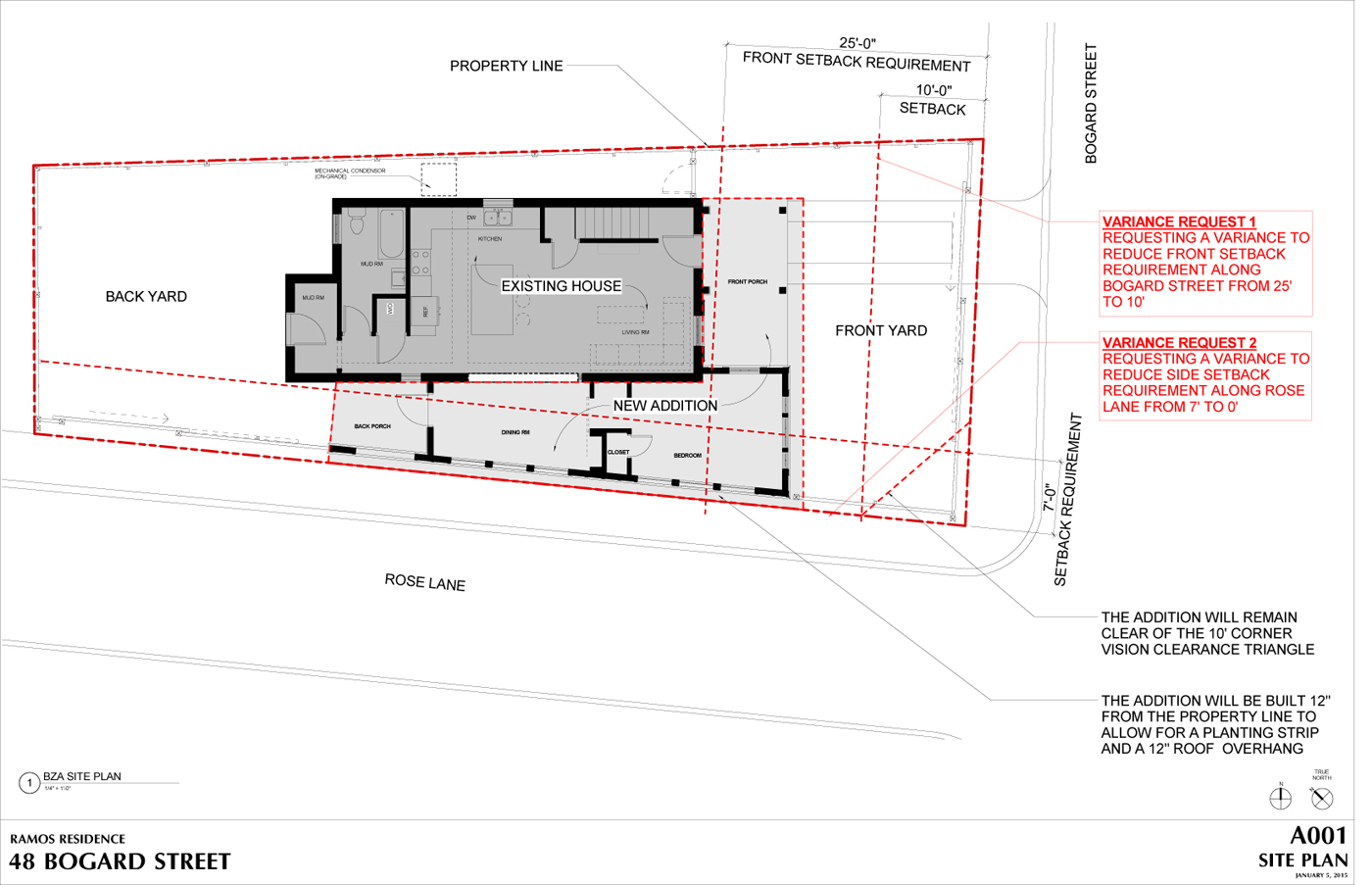 This site plan illustrates the variance being requested.