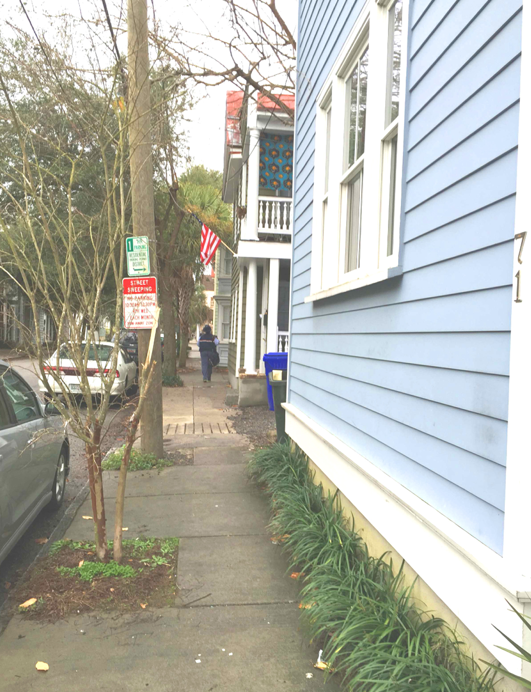 This is what our neighborhood looks like. Buildings right up at the sidewalk. Architects would call this an 'urban condition.'