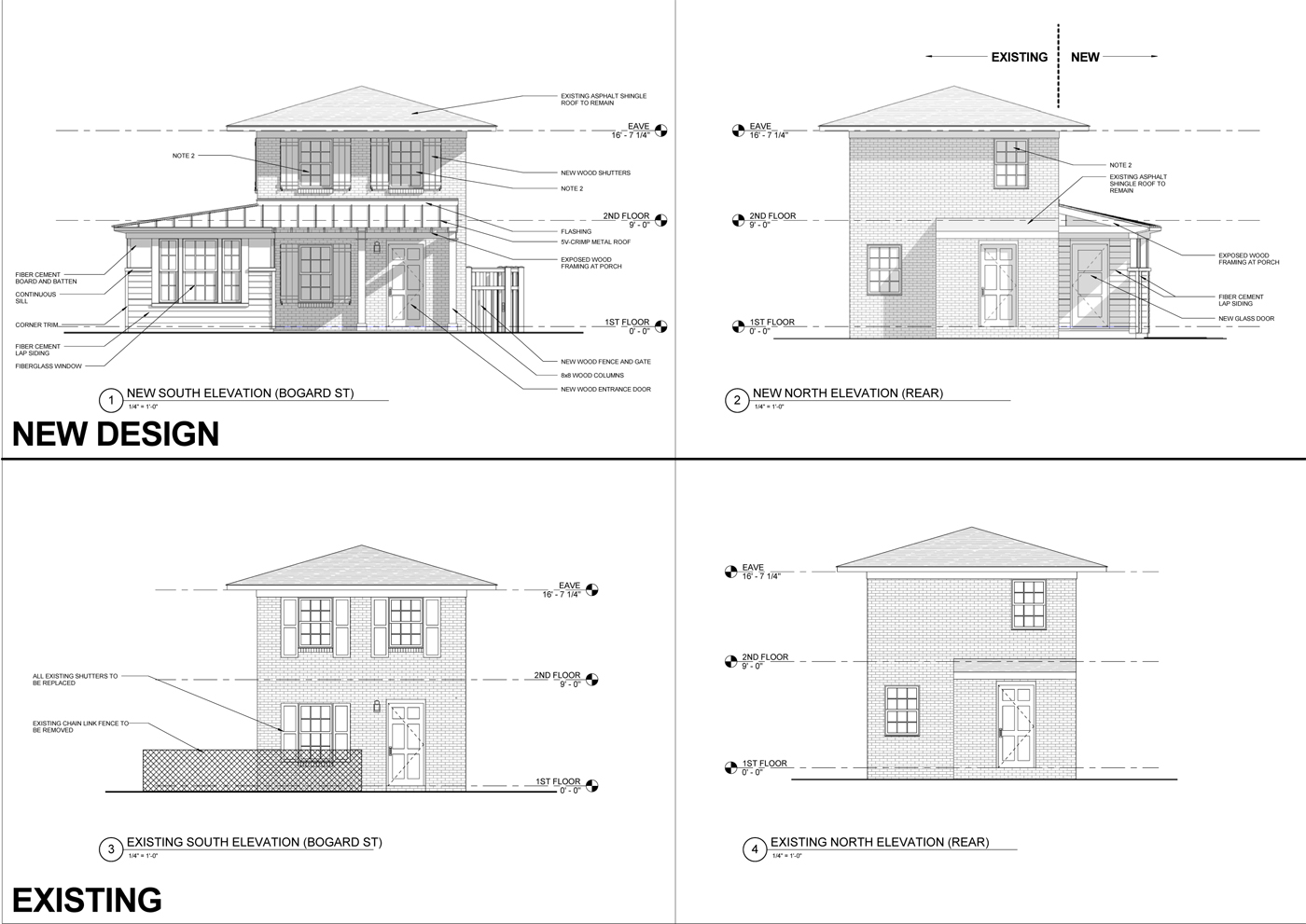 Front and back elevation. The B.A.R requires you to show existing versus new. The front is a pretty dramatic improvement.