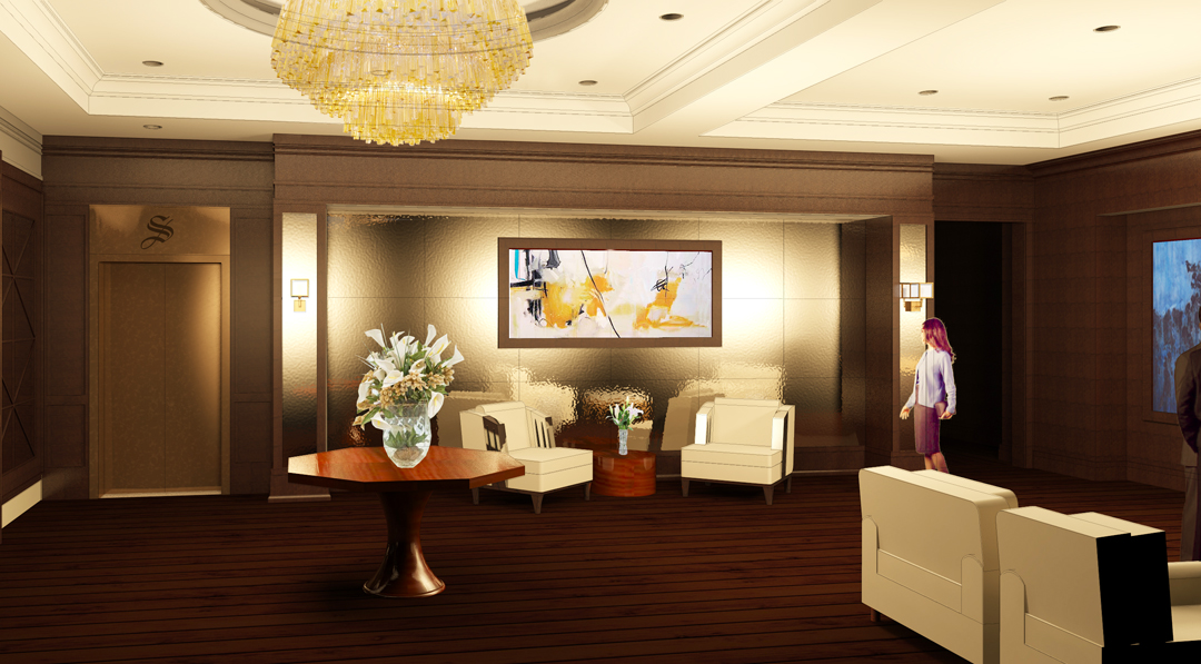 Lobby Rendering 1.  This is what you see when you walk in the front door.  The elevator is over on the left.