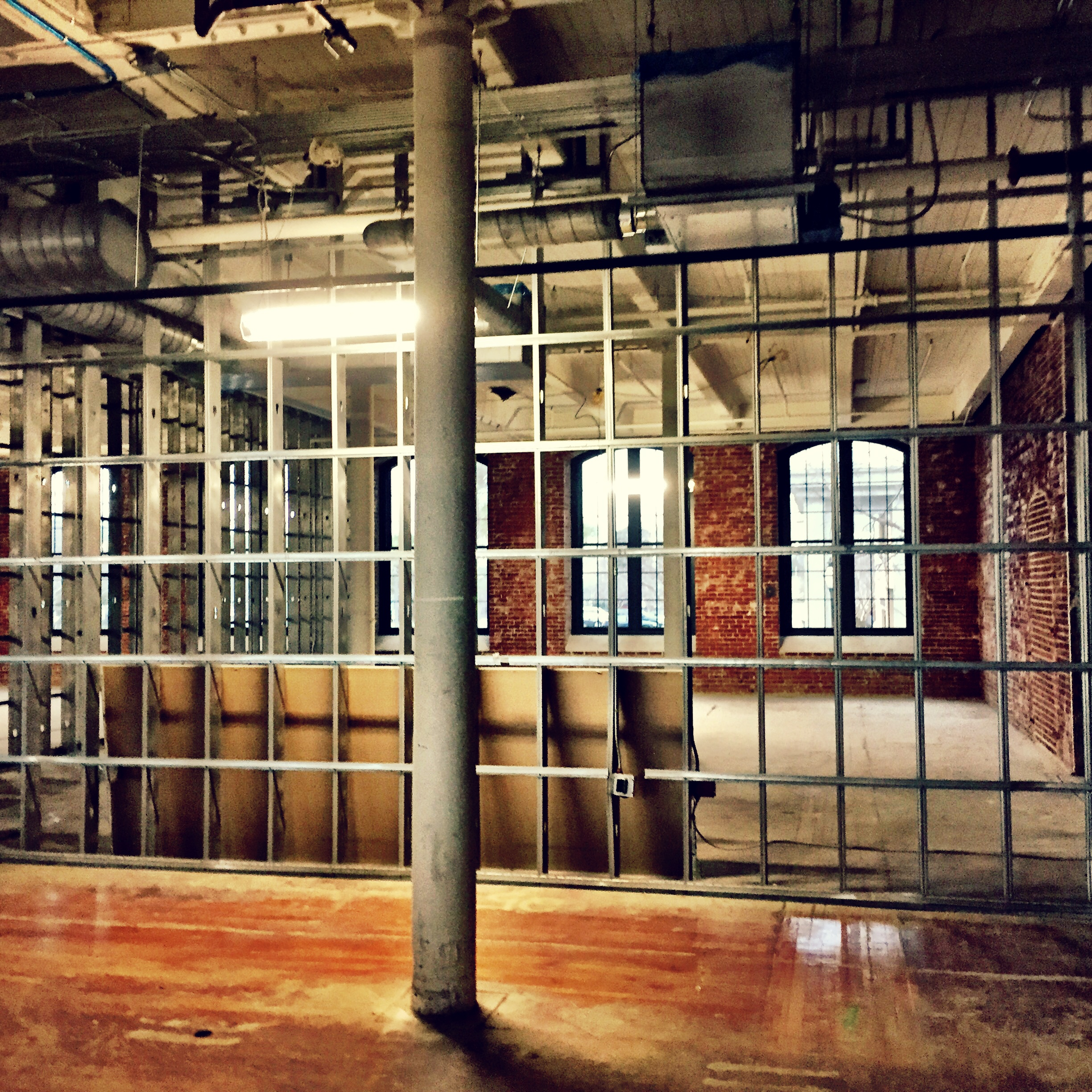 Here you can see some of the walls being framed for office space.