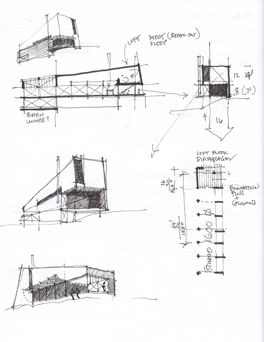 Brian's sketches of the studio.