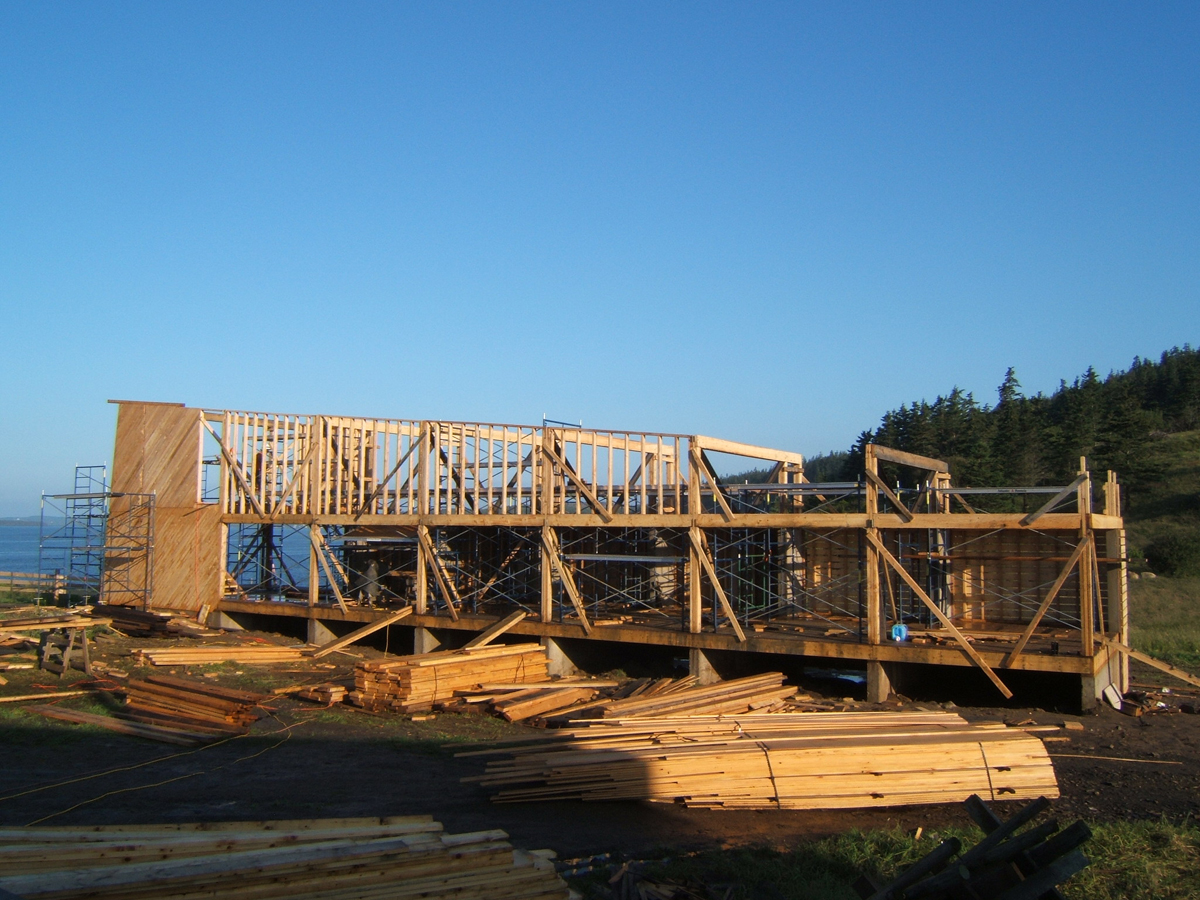 Wall framing being added. Since the framing would be exposed, we designed everything on a grid.