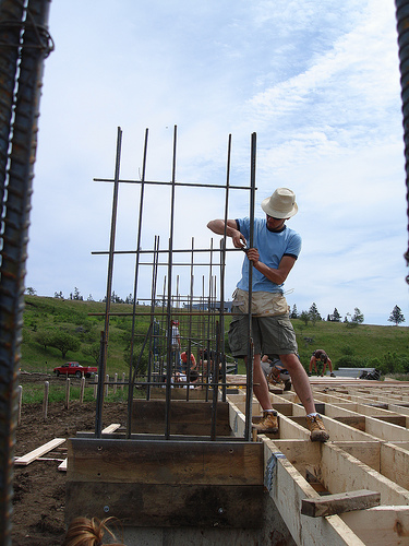 Tying rebar for the concrete shear walls.